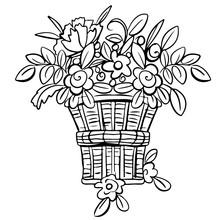 Bouquet Flowers In Wicker Basket
