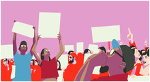Illustration Of Peaceful Crowd Protest In Color