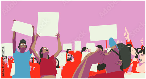 Illustration of peaceful crowd protest in color Tapéta, Fotótapéta