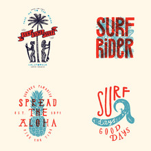Surfing T-shirt Design Set. Su...
