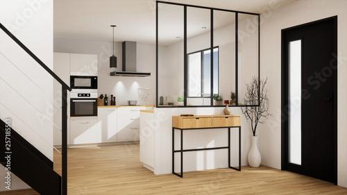 Obraz na płótnie vue 3d cuisine avec verrière  20-06