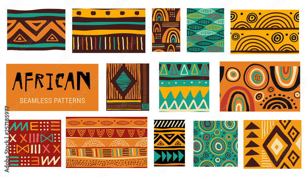 Fototapeta Seamless African modern art patterns. Vector collection