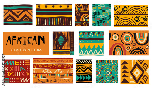 obraz PCV Seamless African modern art patterns. Vector collection