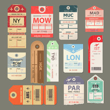 Set Of Beautiful Vintage Luggage Tag, Vintage Retro Travel Label.