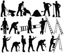 Shapes Of Builder Men In Helme...