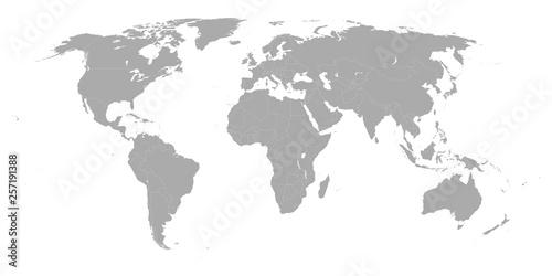 Foto op Aluminium Wereldkaart World map isolated on white background. Globe worldmap icon. Template design for worldwide travel, infographics or website.