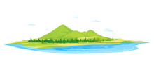 Lake In The Picturesque Valley Near The High Mountains With With Green Pastures, Nature Landscape, Travel Illustration Isolated