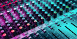 canvas print picture - Close up of sound mixing console. Details of sound engineer room. Neon light