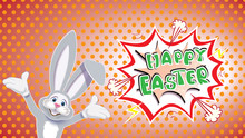 Cute Gray Easter Bunny With Textual Comic Speech Bubble On A Dotted Pop Art Style Background
