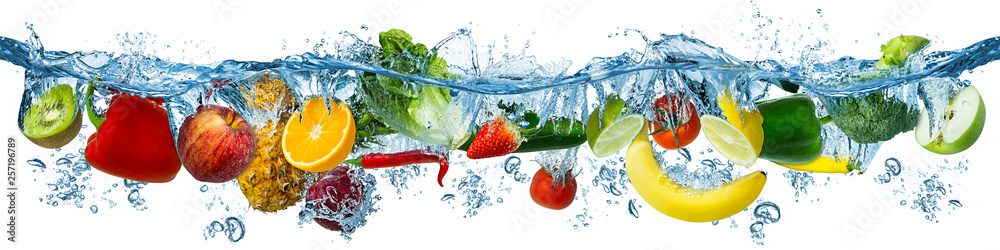 Fototapeta fresh multi fruits and vegetables splashing into blue clear water splash healthy food diet freshness concept isolated white background