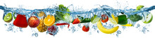 Fresh Multi Fruits And Vegetables Splashing Into Blue Clear Water Splash Healthy Food Diet Freshness Concept Isolated White Background