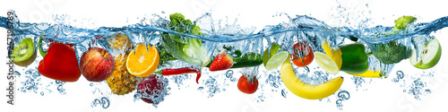 Photo sur Toile Cuisine fresh multi fruits and vegetables splashing into blue clear water splash healthy food diet freshness concept isolated white background