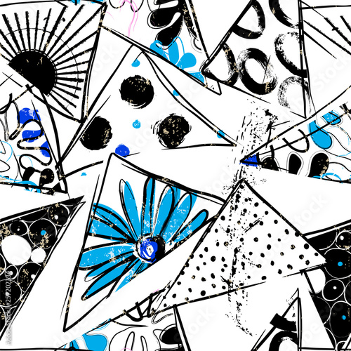 floral seamless background pattern, with triangles, circles, paint strokes and splashes, black and white