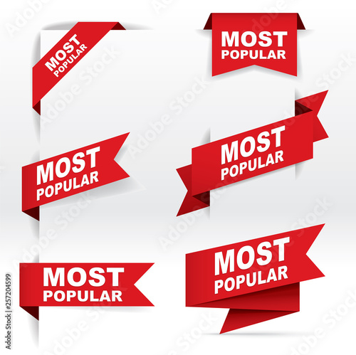 Red Banner Vector, Most Popular, vector concept, illustration, EPS 10 - 257204599