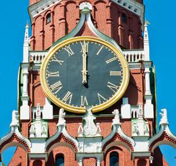 The Kremlin Clock (Kremlin Chimes). Twelve o'clock. Spasskaya Tower. Moscow. Russia