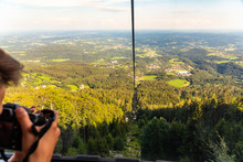 View From Gondola Lift In Schockl Graz, On The Way Up