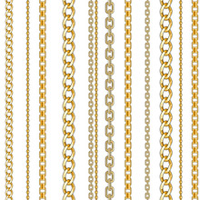 Pattern With Gold Chain Isolated