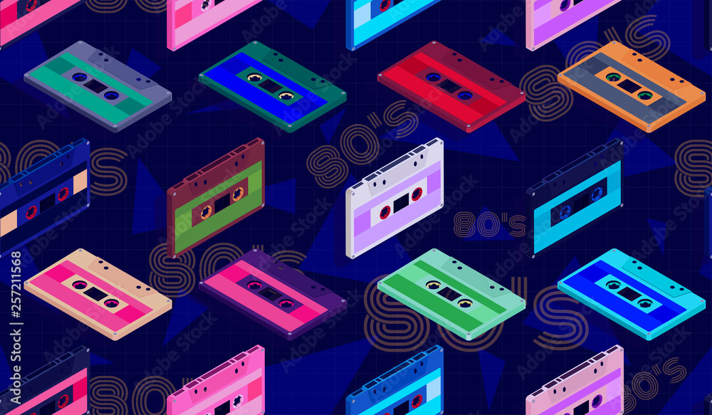 Vector seamless pattern with cassettes in isometric view on dark blue background in 80's style for fashion design, printing on paper or Wallpaper.