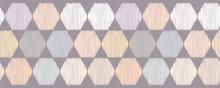 Hand Drawn Hexagon Graphic Seamless Border Pattern. Sketchy Organic Harlequin Style Vector Illustration. Modern Edging Graphic Design. Fresh Scandi Scribble Lines. Home Decor Textile Washi Ribbon Trim