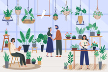 Botanist Greenhouse. Planting Houseplant, Grow Plants And Planter Hobby. Friends Spending Time At Orangery Vector Illustration