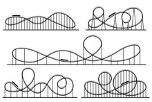 Roller Coaster Silhouette. Amusement Park Atractions, Switchback Attraction And Rollercoaster Vector Silhouettes Set