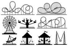 Amusement Park Silhouette. Rol...