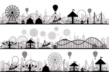 Amusement Park Landscape. Carnival Roller Coasters Silhouettes, Festive Carousel And Ferris Wheel Parks Vector Silhouette Illustration