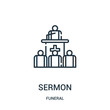 sermon icon vector from funeral collection. Thin line sermon outline icon vector illustration. Linear symbol for use on web and mobile apps, logo, print media.