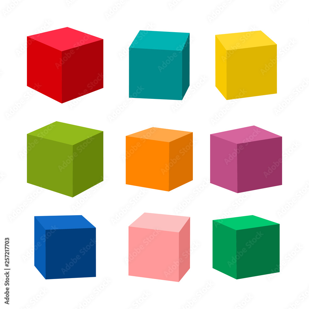 Fototapeta Set of blank colorful toy bricks vector illustration. Single vector cubes isolated on white background.