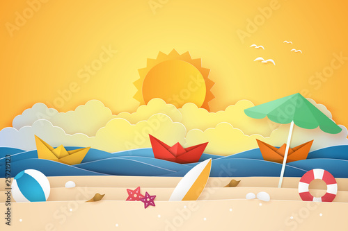 Summer time , sea and beach with boat and stuff  , paper art style Wallpaper Mural