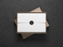 Cardboard Opened Box With White Wrapping Paper, Horizontal