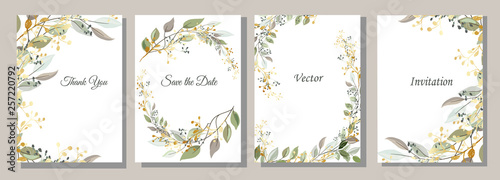 Fototapeta Set of cards with gold and leaves. Decorative invitation to the holiday. Wedding, birthday. Universal card. Template for text.  Vector illustration. obraz