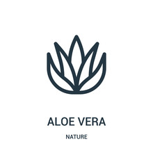 Aloe Vera Icon Vector From Nature Collection. Thin Line Aloe Vera Outline Icon Vector Illustration. Linear Symbol For Use On Web And Mobile Apps, Logo, Print Media.
