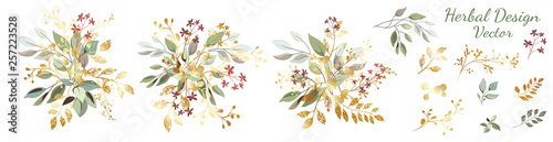 Fototapety, obrazy: Green leaves with gold. Set: arrangement of leaves and gold elements, branches and ornamental herbs. Vector design.