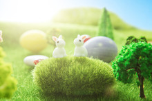 Cute Little Easter Bunnys In T...