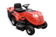 Gardening Equipment - Generic Red Tractor Mower Isolated On A White Background.