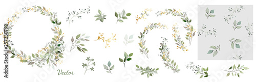 Obraz Set. Arrangement of decorative leaves and gold elements. Collection: leaves, twigs, herbs, leaf compositions, gold, wreath. Vector design. - fototapety do salonu