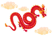 Chinese Red Dragon Flying In The Sky