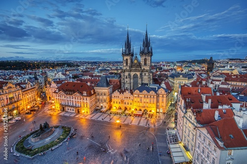 Foto op Plexiglas Praag Prague old town square and church of Mother of God before Tyn in Prague, Czech Republic.
