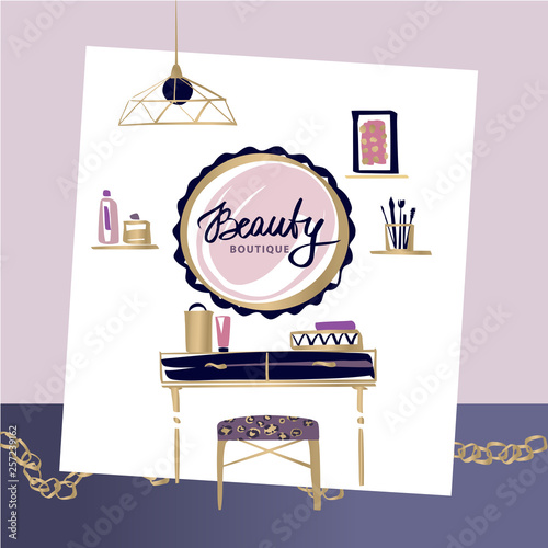 Vanity Table With Cosmetic Mirror On Wall Female Boudoir For Makeup Concept Banner Poster For Beauty Boutique Fashion Style Studio Eco Cosmetic Shop Beauty Blog Makeup Table With Gold Chain Buy