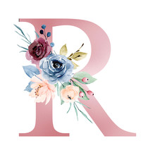 Floral Alphabet, Letter R With Watercolor Flowers And Leaf. Monogram Initials Perfectly For Wedding Invitations, Greeting Card, Logo, Poster And Other Design. Hand Painting.