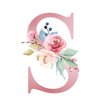 Floral Alphabet, Letter S With...