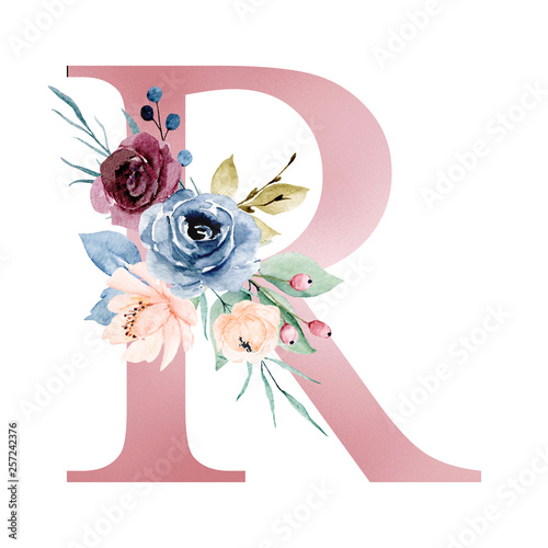 Floral Alphabet, Letter R With Watercolor Flowers And Leaf