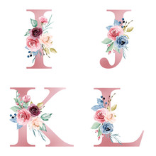Floral Alphabet, Letters I, J, K, L Set With Watercolor Flowers And Leaf. Monogram Initials Perfectly For Wedding Invitations, Greeting Card, Logo, Poster And Other Design. Hand Painting.