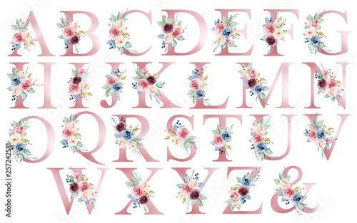 Floral alphabet, letters set with watercolor flowers and leaf Fototapet