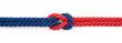 Leinwandbild Motiv Czerwona i niebieska linka związane na białym tle