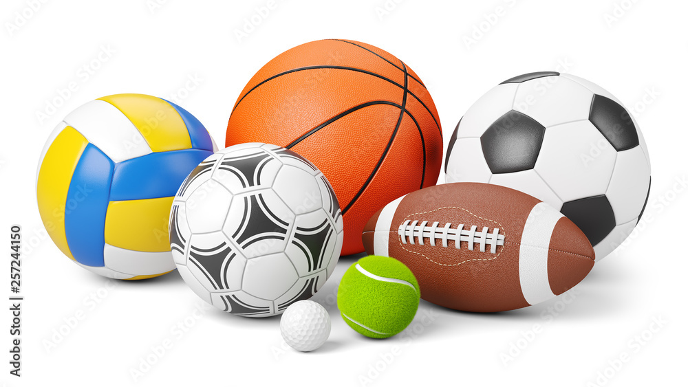 Fototapety, obrazy: Sports shop logo. Group of balls the team games isolated on white background