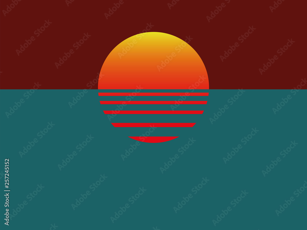 Fototapety, obrazy: Minimalistic sunset with ocean