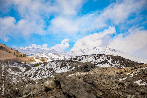 Fényképezés  Etna Volcano with smoke in winter, volcano landscape from Catania, Sicily island