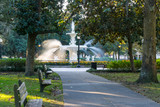 Fototapeta Sawanna - Fountain in Forsyth Park, Savannah, Georgia